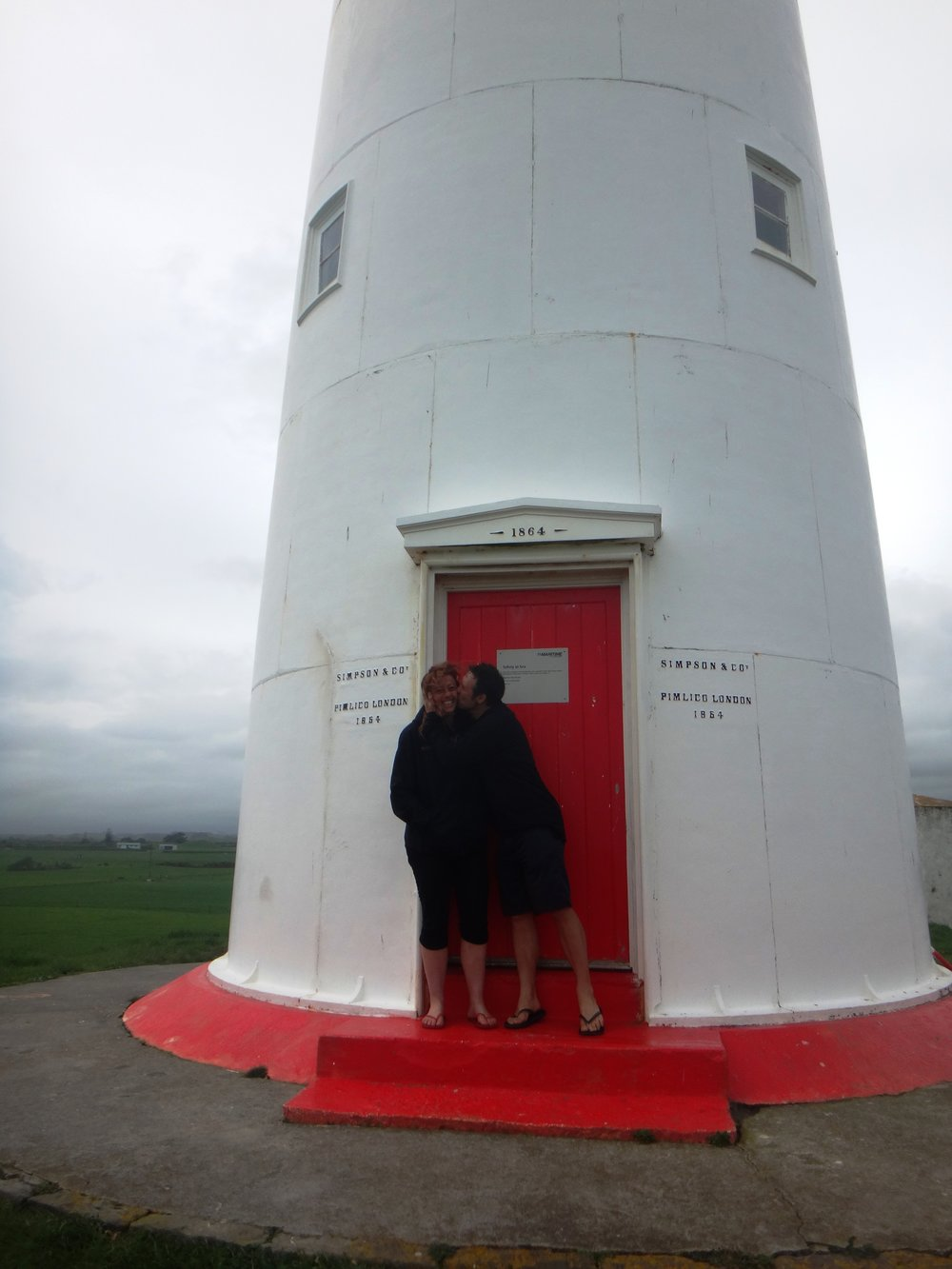 Kisses for Red at Cape Egmont Lighthouse.