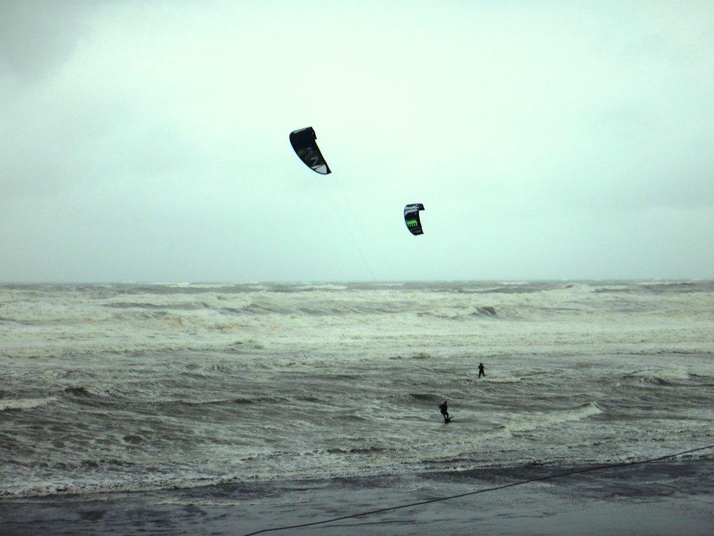 Kitesurfers at Sunset Beach.