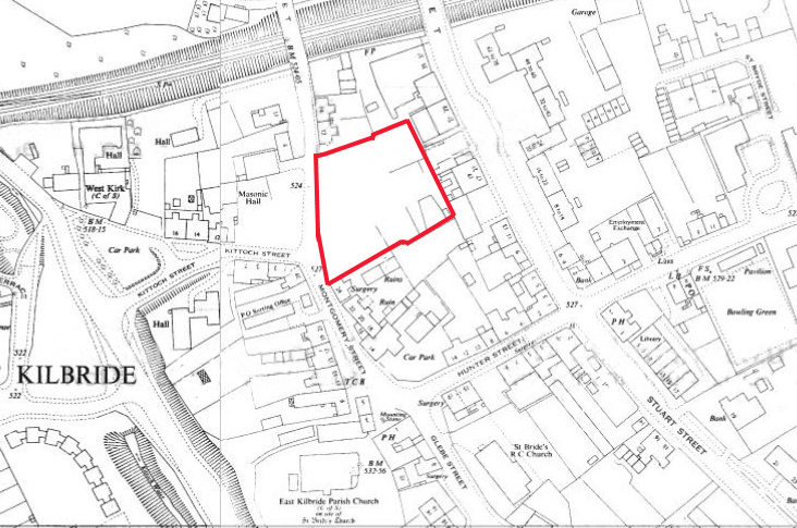 Kittoch Street, The Village, East Kilbride Area outlined in red indicates location of allotments (click to view larger)