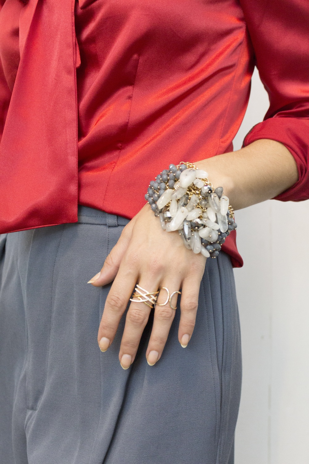 A grey semi precious stoned cuff that really rocked our Saint Laurent pants