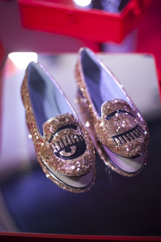 Sparkly slipper style with eye logos - Chiara Ferragni