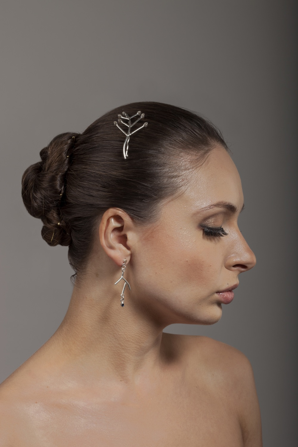 Twig earrings and hair slides - Farah Qureshi.