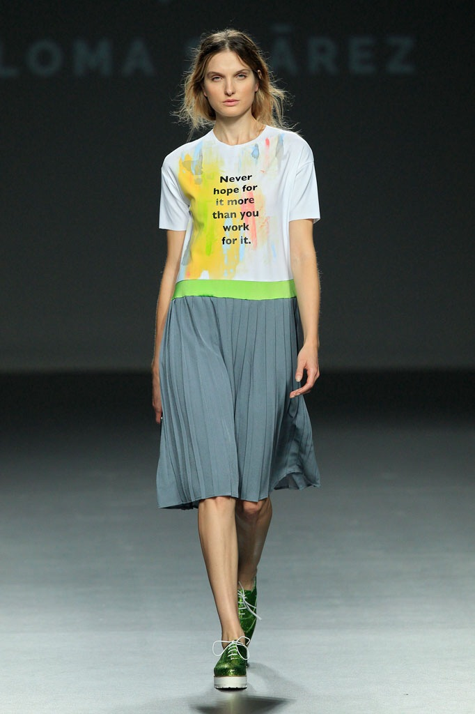 Simple pleated dress is uplifted with lime waist band - Paloma Suarez