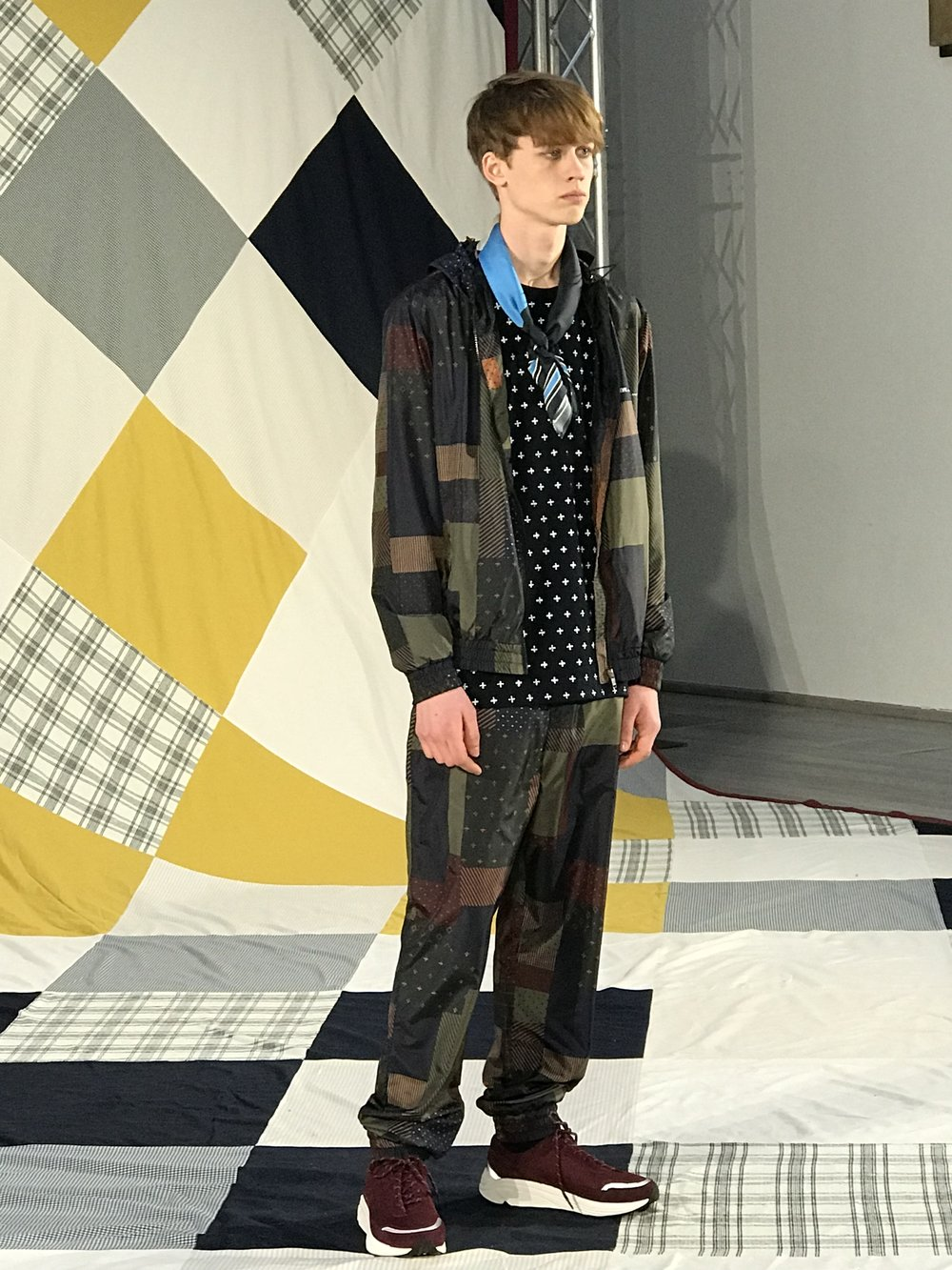 Amazing patchwork silky material style track suit at the Wood Wood Co-ed presentation. I really liked the clunky unisex sneakers that came in 4 different colours too!