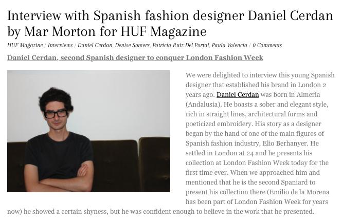 HUF Magazine interview