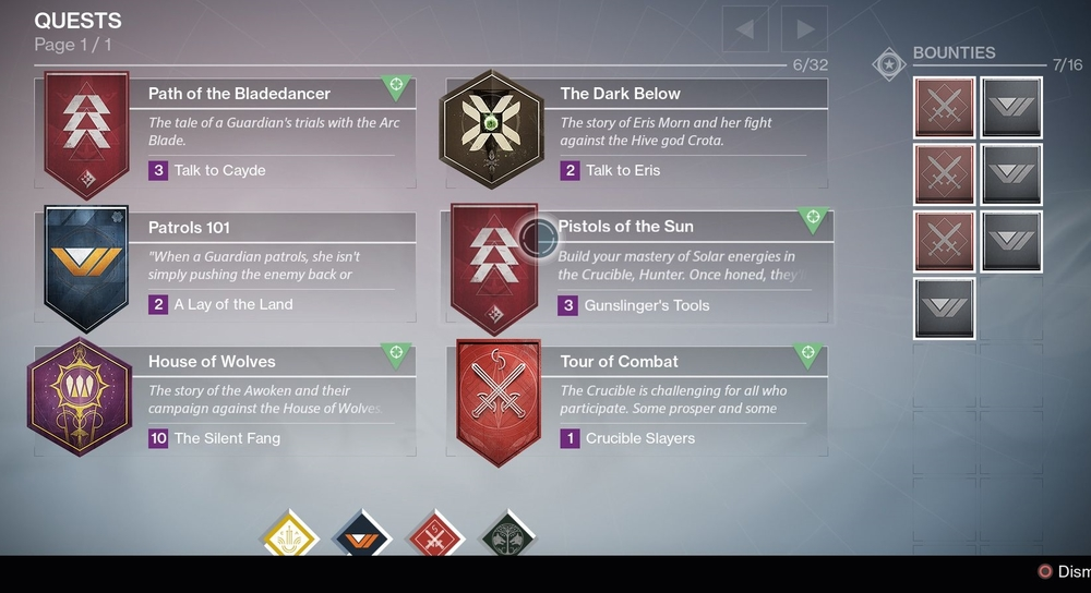 The quest log, and expanded slots for bounties