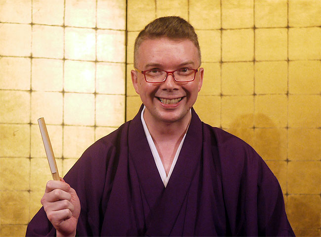 Japanese comedy researcher and sometime performer Shawn De Haven, seen here after a rakugo performance.