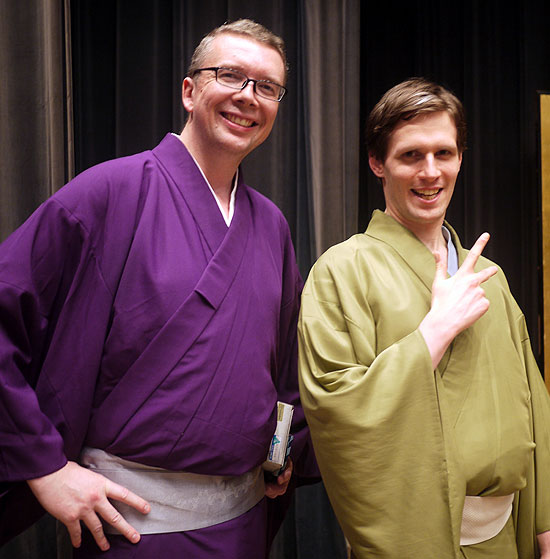 Jubei (right) as an amateur at the Chiba International Rakugo Competition with the author.