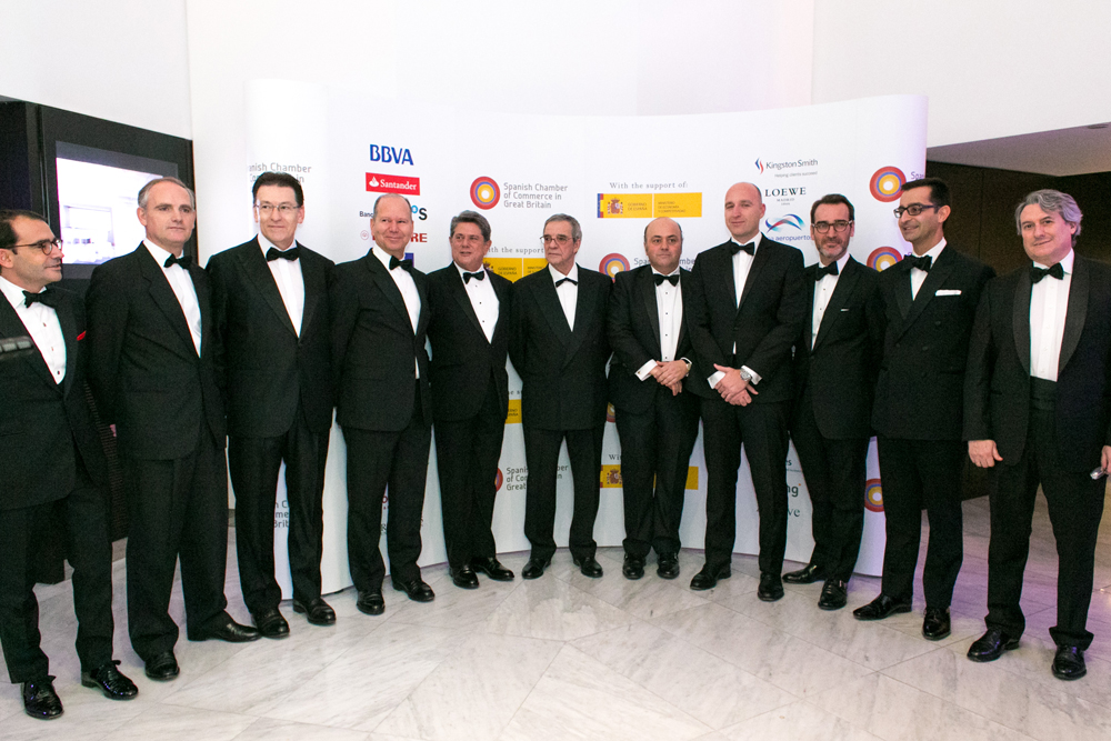 Federico Trillo-Figueroa, Spain's ambassador to the United Kingdom,César Alierta, Executive Chairman and CEO of Telefónica and Javier Fernández Hidalgo, Vice-President of Spanish Chamber of Commerce pose for group photo at the Spanish Chamber of Commerce Gala Dinner, London 2014
