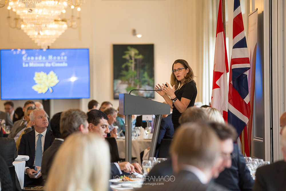 Canada-UK Chamber lunch in partnership with the High Commission of Canada 'Growing Trade The Progressive Way' with Guest Speaker The Honourable Chrystia Freeland MP Minister of International Trade Government of Canada