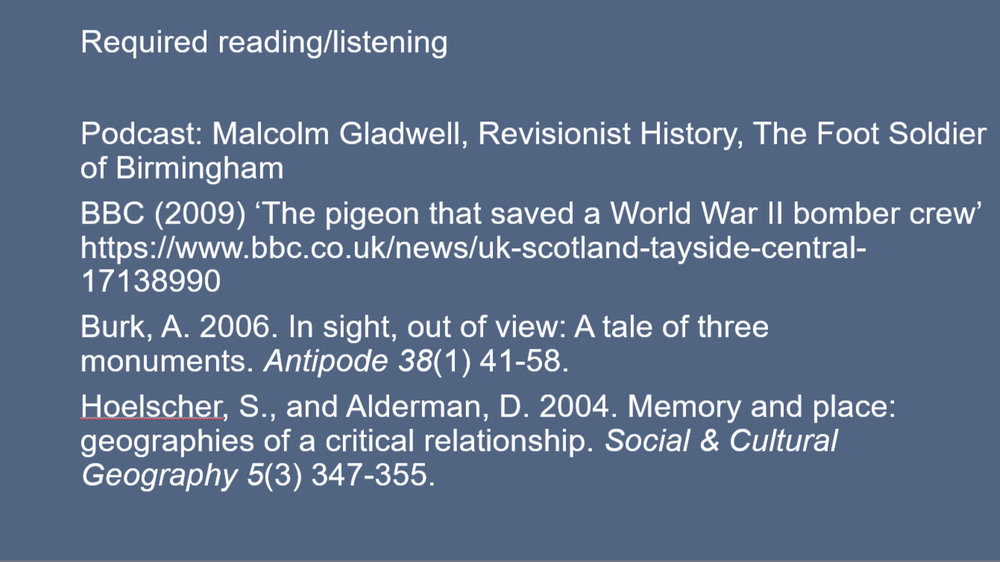 An example required reading list using a podcast for a 'memory geographies' lecture