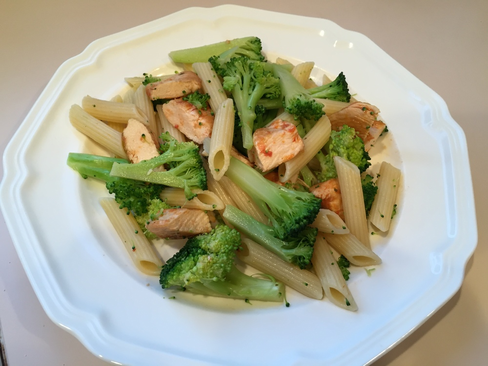 This homemade chicken, broccoli ziti dish seasoned with olive oil is  much lower lower in fat and calories than one with an Alfredo type sauce.