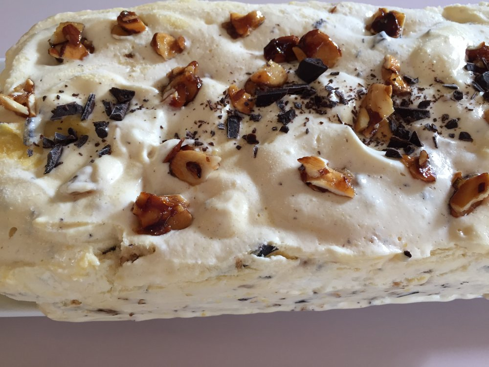 French Praline Semifreddo - it's like ice cream with the texture of mousse. DELICIOUS!