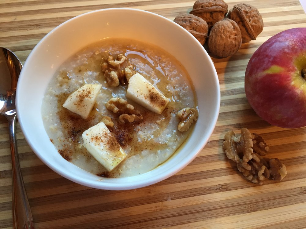 Heart warming and healthy - Maple syrup, walnuts, apples and oatmeal breakfast -Delicious and heart healthy- Enjoy!!!