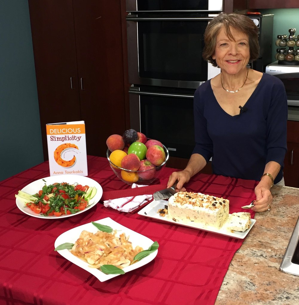 What a great meal we made for the October show of Delicious Simplicity filmed at the RCTV Studios in Reading MA. A mixed tomato salad, Turkey with sage and prosciutto and a French praline semifreddo. Semifreddo is and Italian ice cream like dessert with a texture of a mousse.