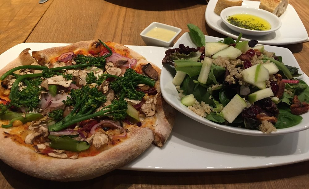 The lunch menu listed - California Vegetable Pizza - I ordered it as -  No Cheese California Vegetable Pizza,  with a side of Spinach-Quinoa Salad, dressing on the side. I enjoyed a great 3 hour lunch with my dear friend Sarah at California Pizza Kitchen - MarketStreet Lynnfield, this week.