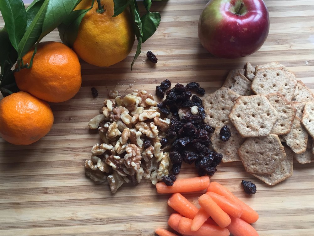 Stay energized throughout the day with any combination of these season nutrient rich staples: tangerines, apples, walnuts, wholegrain cracker, raisins and carrots. When time is short and hunger is calling these snacks will help keep you focused and on track!