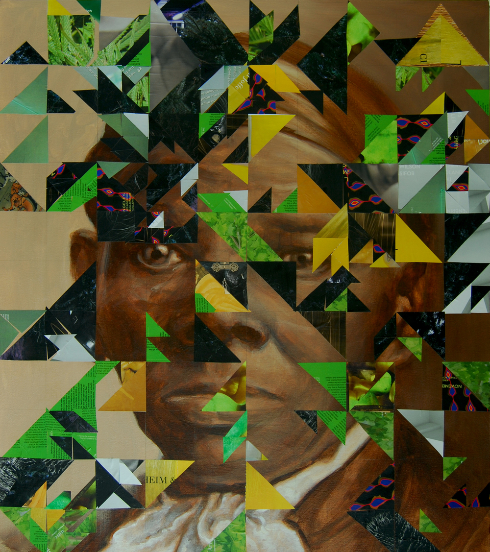 HuntingtonJeff_Harriet Tubman and the idea of the code quilts associated with the underground railroad_2014_MagazineClippingsAndAcrylicOnCanvas_34x30in.jpg