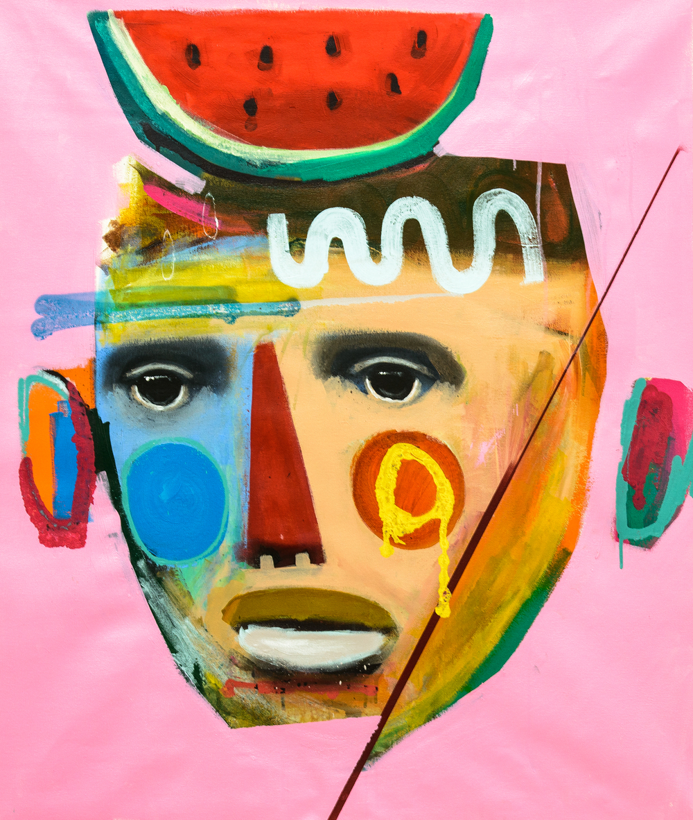 "Rodrigo Branco, ""Untitled #4 (Pink Background With Watermelon)"" (2014)"