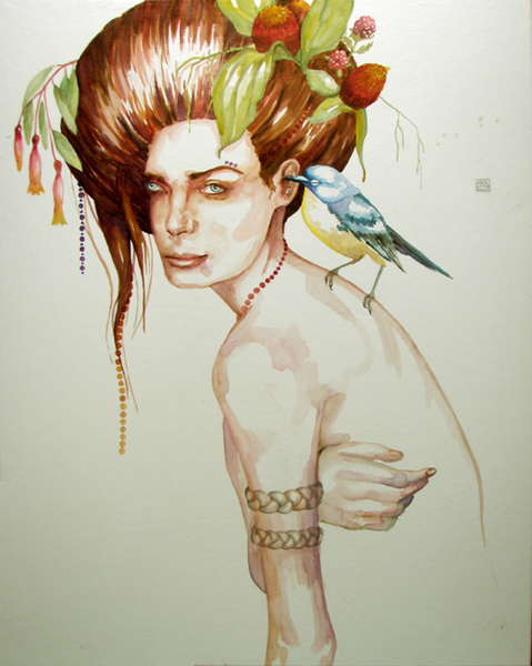 "Anne Smerdon, ""Little feathered man, in whom I trust. Fish eyes of awe. I like your plumage."" (2011)"