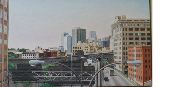 "Laura Shechter, ""Approach to the Brooklyn Bridge"" (2001)"