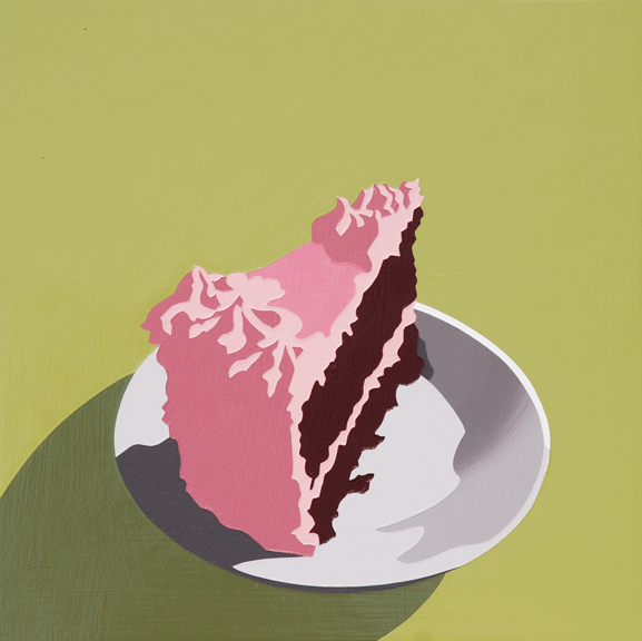 "Lori Larusso, ""Single Slice (Pink Frosted Cake on Green)"" (2013)"