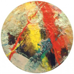 "Anne Marchand, ""Roses Drop Petals"" (2010), acrylic and mixed media on canvas, 10"" diameter $850 USD"