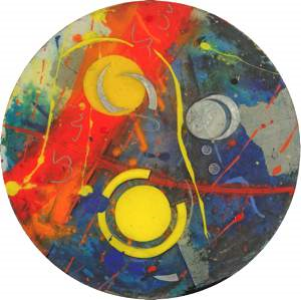 "Anne Marchand, ""Radiance"" (2011), acrylic and mixed media, 16"" diameter $1800 USD"
