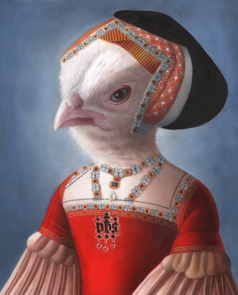 "Amy Hill, ""Chic Chick"" (2015), oil on wood, 14"" x 11"" INQUIRE FOR PRICE"