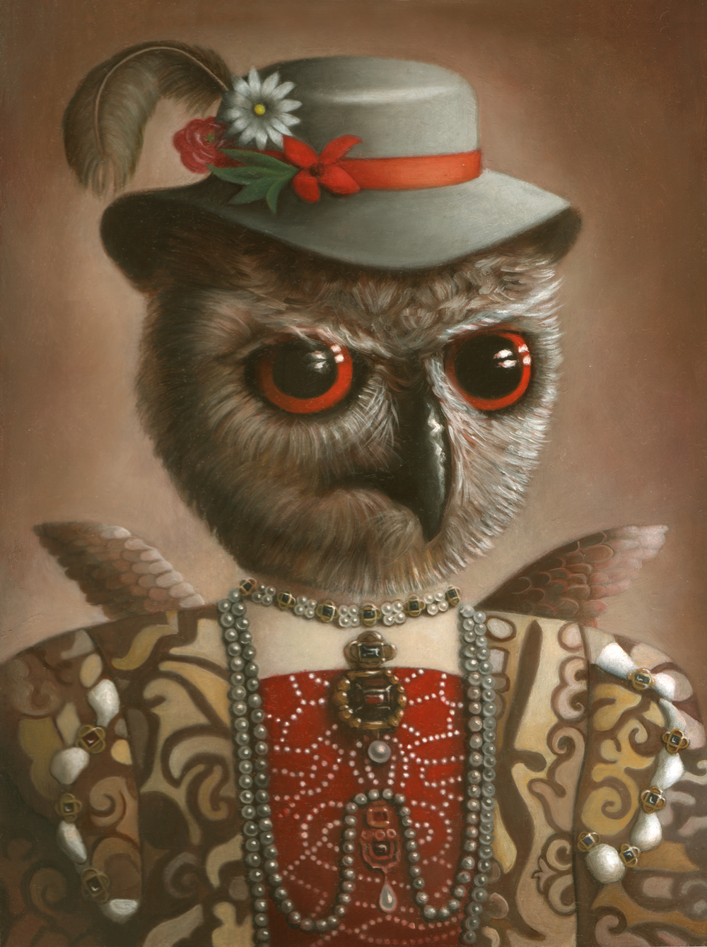 "Amy Hill, ""Hooty"" (2005), oil on wood, 12"" x 9"" INQUIRE FOR PRICE"