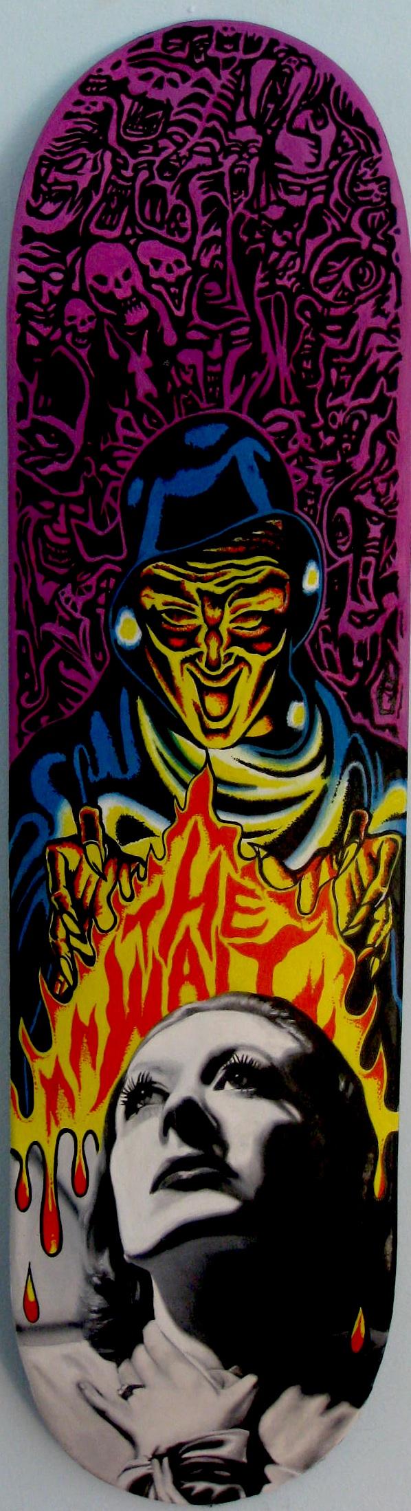 "Jason Bryant, ""Tomorrow"" (2014), oil on skateboard, 31"" x 8"" $1800 USD"