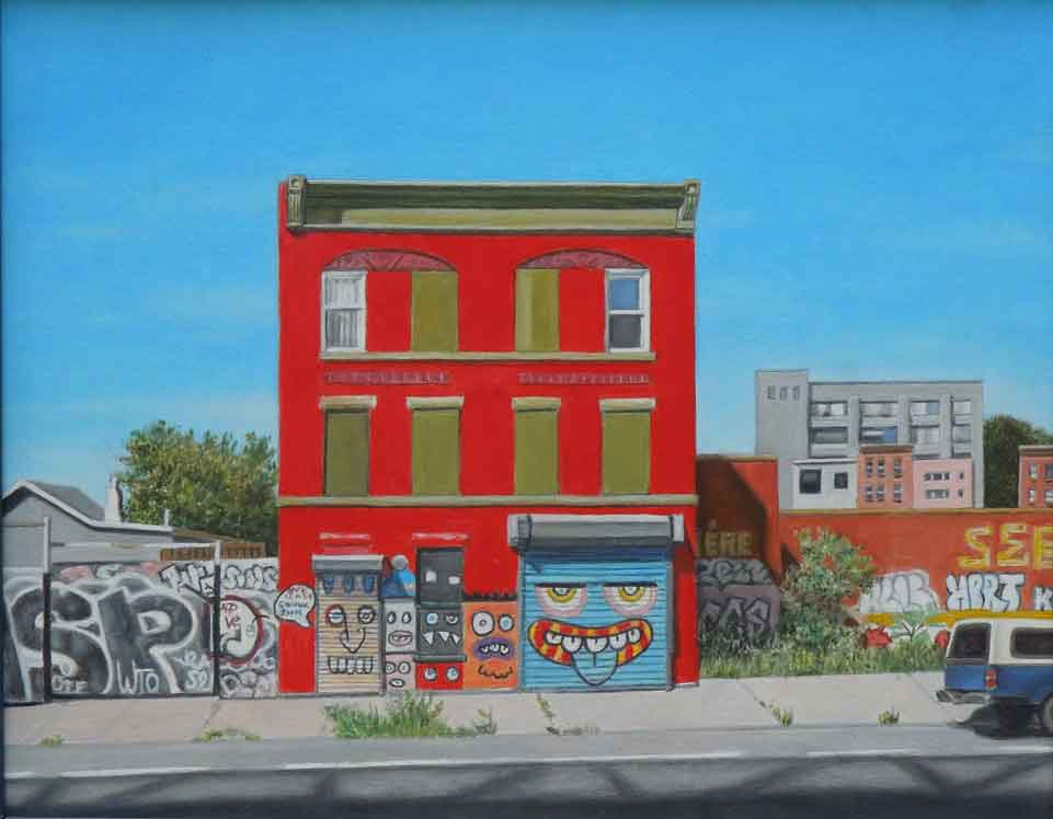 "Laura Shechter, ""Red House, Williamsburg Bridge"" (2014), oil on board, 7.75"" x 9.75"" $2800 USD"