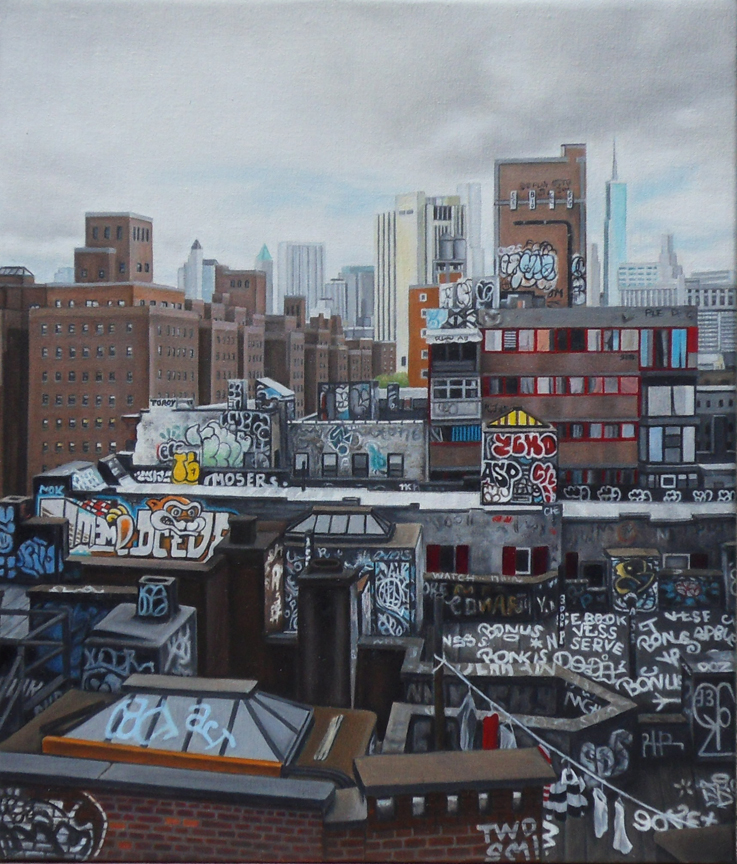 "Laura Shechter, ""Chinatown From the Bridge"" (2014), oil on canvas, 14"" x 12"" $3800 USD"