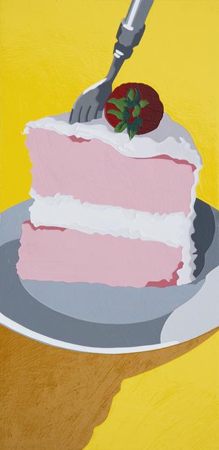 "Lori Larusso, ""Single Slice (Strawberry Cake)"" (2013), acrylic and enamel on panel, 12"" x 6"" x 1.5"" $575 USD"