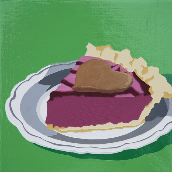 "Lori Larusso, ""Single Slice (Purple Pie With Green Love)"" (2013), acrylic and enamel on panel, 8"" x 8"" x 0.75"" $475 USD"