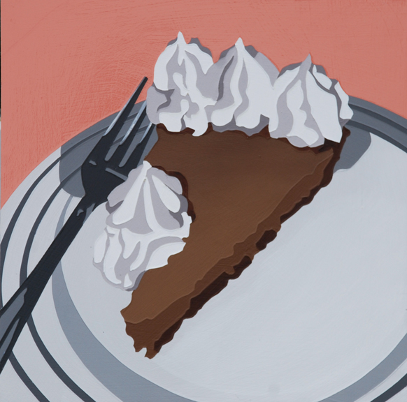 "Lori Larusso, ""Single Slice (Pie With Cream)"" (2013), acrylic and enamel on panel, 8"" x 8"" x 1.5"" $475 USD"