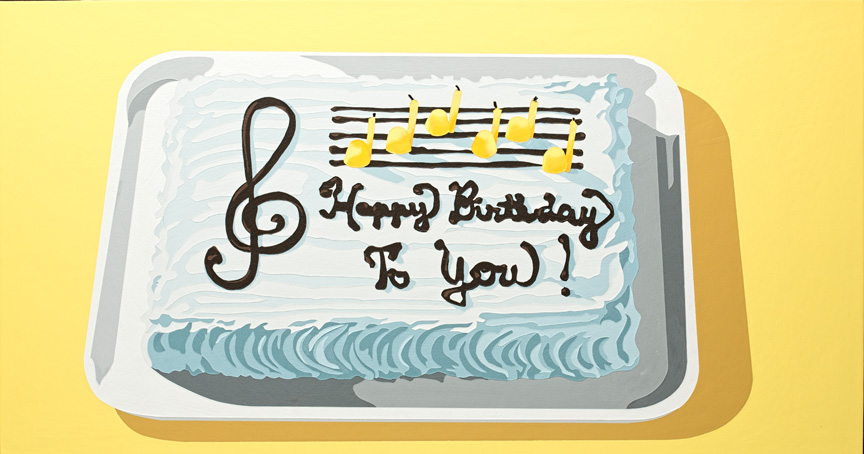 LarussoLori_It'sNotMyBirthday,That'sNotMy(Musical)Cake_2012_acrylicAndEnamelOnPanel_19X35x1in.jpg