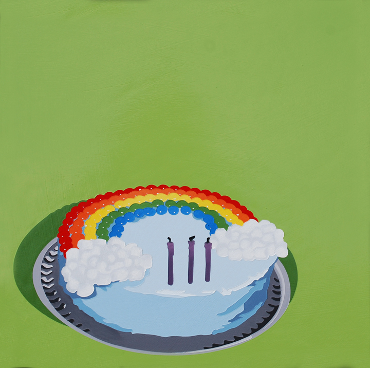 LarussoLori_It'sNotMyBirthday,That'sNotMy (Rainbow)Cake_2013_AcrylicAndEnamelOnPanel_18x18x1.5in_$1050.jpg
