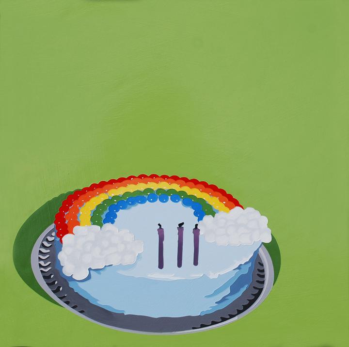 LarussoLori_It'sNotMyBirthday,That'sNotMy (Rainbow)Cake_2013_AcrylicAndEnamelOnPanel_18x18x1.5in_$1050.jpg