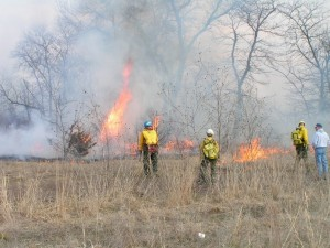 """Hutchinson Community College students working on a fire near Manhattan, Kansas in 2005"""