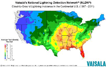 National lightning frequency map. Available from: http://www.lightningsafety.noaa.gov/science/Understanding_Lightning_-_Small_Lightning_Map.JPG