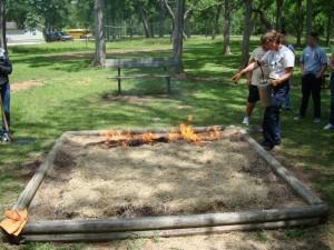 Sandbox demonstration burn. Photo by Dave Redden.