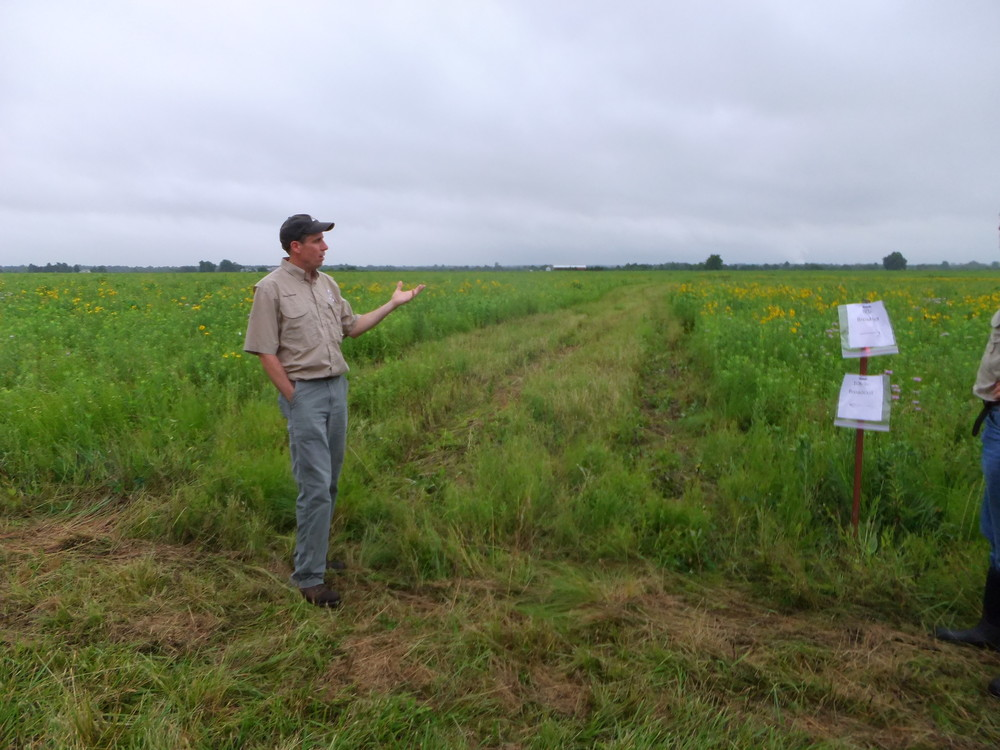 David Darrow explains seeding rate treatments at Shawnee Trail Conservation Area.