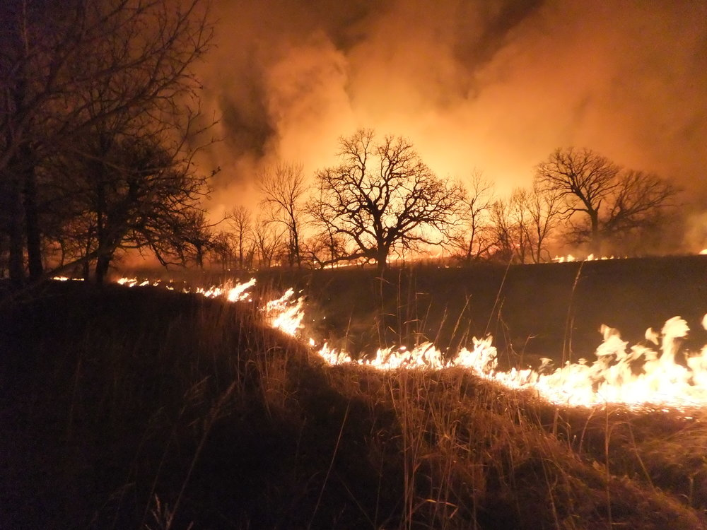 A night burn at the Tallgrass Prairie National Preserve, KS. HTLN photos.