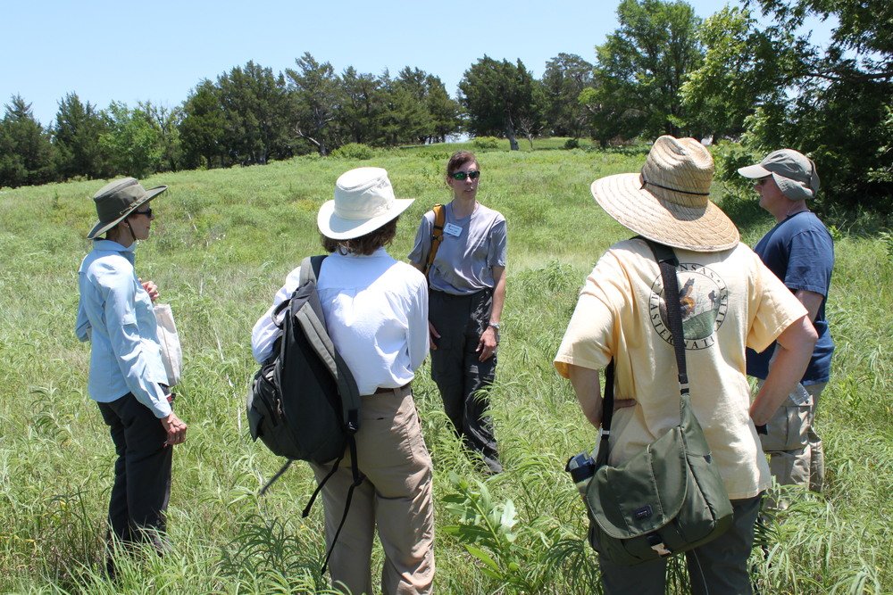 Master Naturalists learn about fire at the Tallgrass Prairie Preserve. Photo by Dan Lekie.