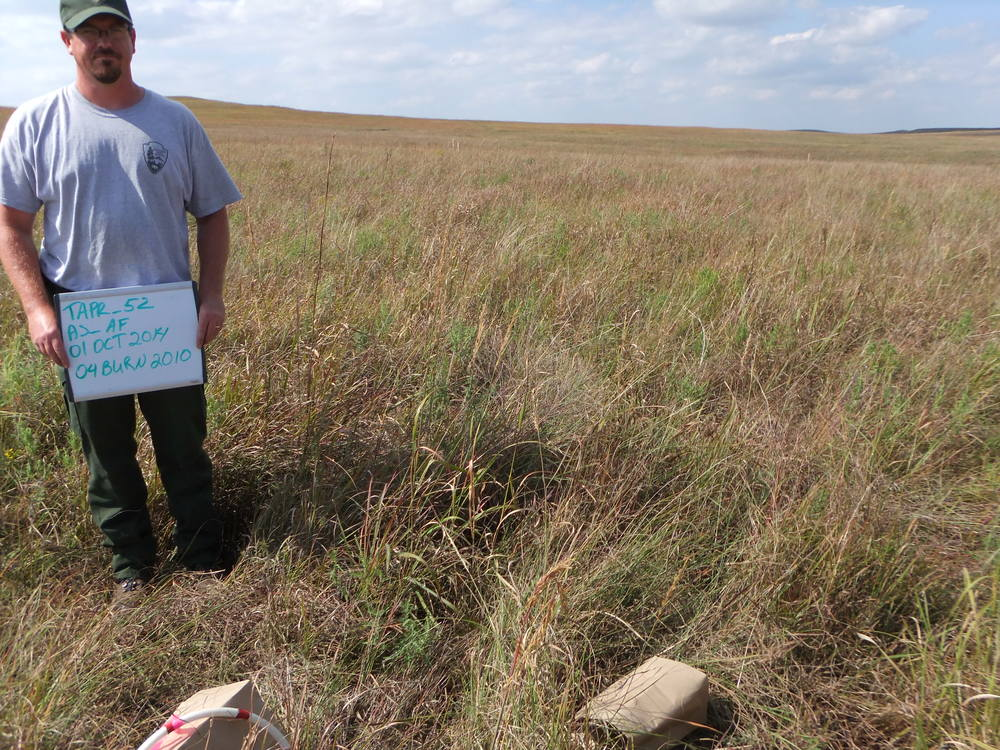 Pre-burn photopoint at the Tallgrass Prairie National Preserve. Darin McCullough pictured.