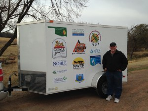 Stan Fimple picks up the Pawnee County Prescribed Burn Association fire equipment trailer