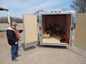 Ronnie Swaggart picks up the Woodward County Prescribed Burn Association fire equipment trailer
