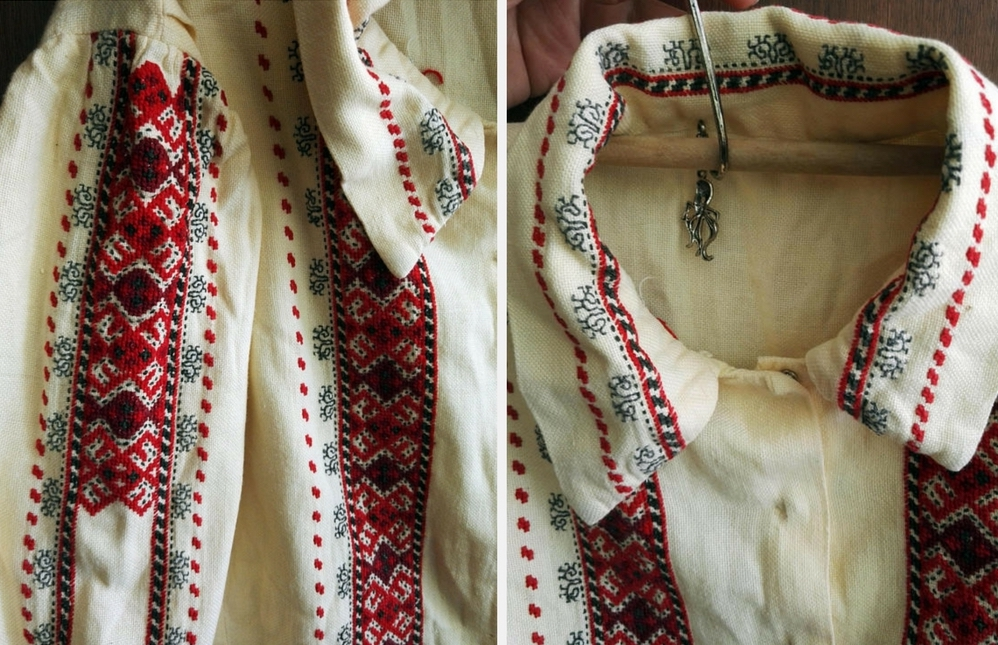 Handmade vintage Bulgarian embroidered shirt from  Made In Bulgaria