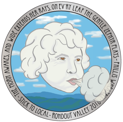 Collect all the farm stickers and get this special silver-bordered zephyr sticker. this sticker features a zephyr--the west wind. Our zephyr is a tribute to local naturalist and environmental educator Ann Guenther, who for over 25 years has shared with us her knowledge of the flora, fauna and fungi around us and her concern with climate change and how we can fight it.